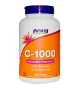 Now Foods 長效型維他命C-1000 含: 玫瑰果+生物類黃酮 1000 mg * 250錠 - 維生素C
