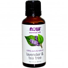 NOW Foods 薰衣草+茶樹精油 100%純  * 1 oz (30ml) ~  Lavender & Tea Tree  刺激!