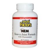 Natural Factors  NEM  蛋殼膜 膝蓋及關節配方  添加: 葡萄糖胺 *60錠 - NEM Knee & Joint Formula with Glucosamine