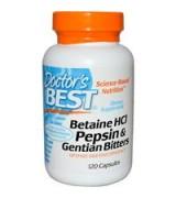 Doctor's Best  甜菜鹼+胃蛋白酶+龍膽草 *120顆 -  Betaine HCI Pepsin & Gentian Bitters