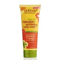 Alba Botanica  去角質沐浴露  防過敏 遠離暗沉  改善皮膚乾燥 *7 fl oz (200 ml)  木瓜+芒果萃取~ Exfoliating Body Wash, Papaya Mango