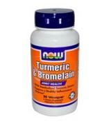 NOW Foods   薑黃素+鳳梨酵素 *90顆 - Turmeric & Bromelain
